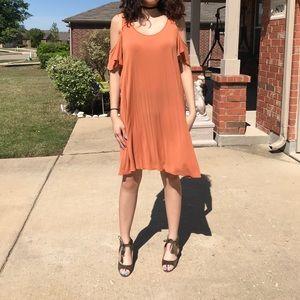 Orange show-the-shoulders Dress